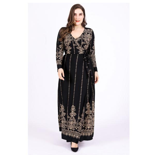 Women's Fashion, Plus Size, retro, print dress