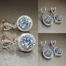 Heart, Fashion, moissanite earrings, gold
