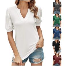 vnecktshirt, Summer, loosesleeveshirt, Short Sleeve T-Shirt