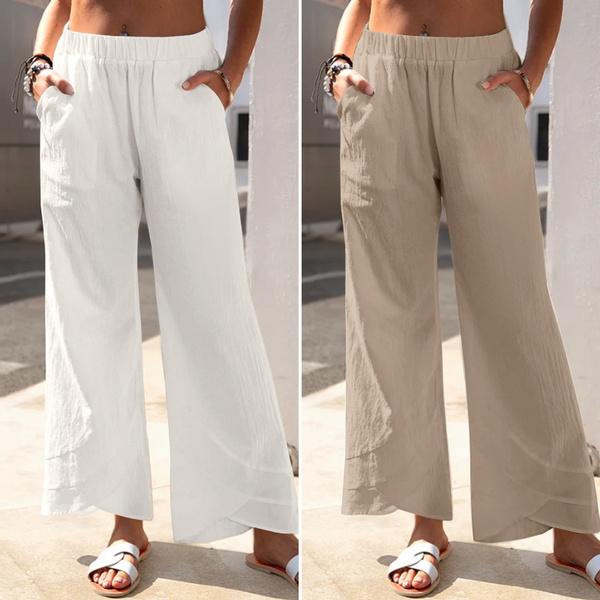 Summer, elastic waist, Cotton, pantsforwomen