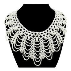 Necklace, bridejewelry, handknitting, Princess