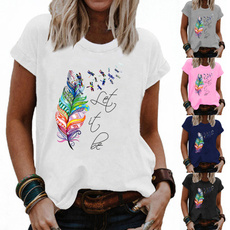 Summer, Plus Size, Graphic T-Shirt, short sleeves