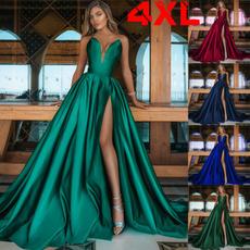 Deep V-Neck, Summer, long skirt, vestidosdenocheelegante