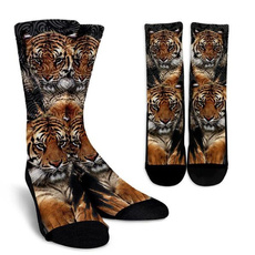 Tiger, winterstocking, knittedsocking, Home & Living