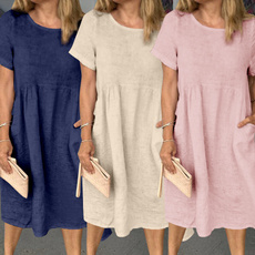 short sleeve dress, ruffle, Necks, solidcolordres