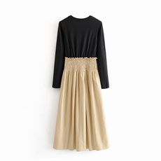 Fashion, womenvintagedres, Long Sleeve, Pleated