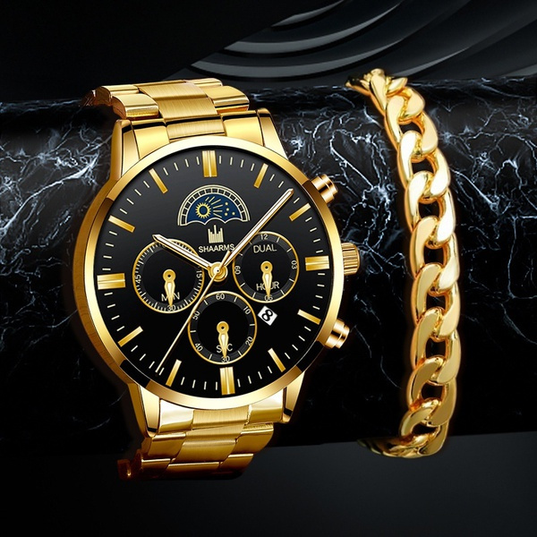 Fashion, gold, Stainless Steel, Watch