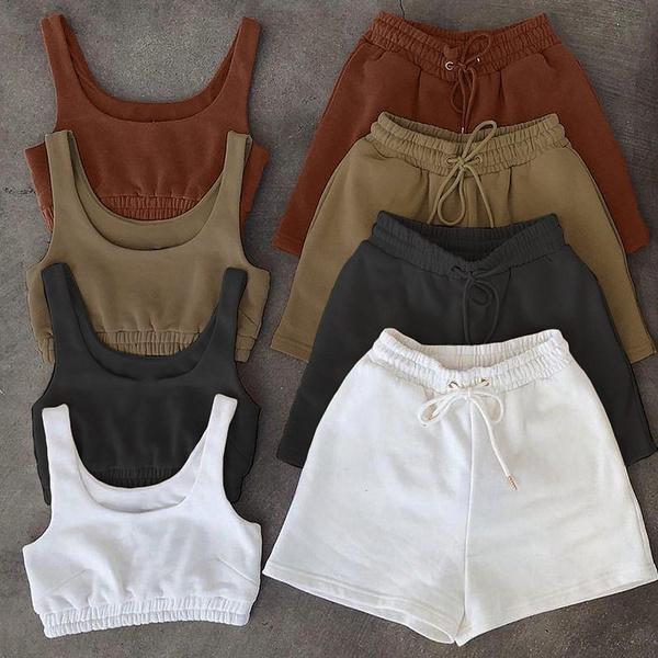 Summer, Shorts, crop top, shortssetswomen2pieceoutfit