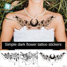 Beautiful, tattoo, Flowers, waterprooftattoosticker