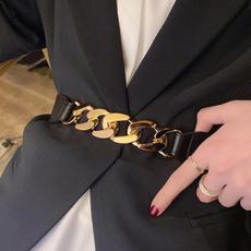 punkchainbelt, wide belt, Leather belt, gold
