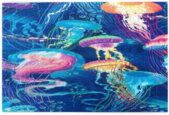 jellyfish, puzzlesgame, Jigsaw Puzzle, colorfulpuzzle