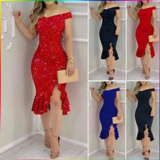 Blues, Sleeveless dress, slitdre, Fashion