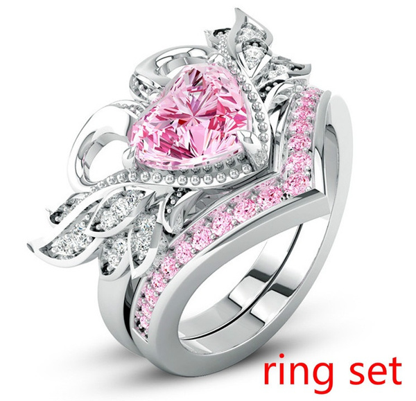 Sterling, Heart, Engagement Wedding Ring Set, 925 silver rings