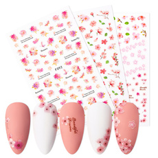 Nails, nail decals, Flowers, art