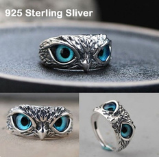 Blues, cute, catseyering, 925 sterling silver