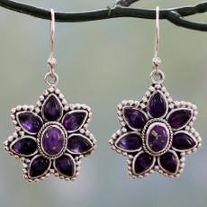 Turquoise, DIAMOND, 925 sterling silver, vintage earrings
