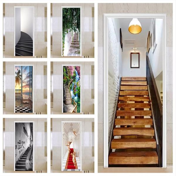 removablewaterproofdoordecal, Bathroom, Door, staircase