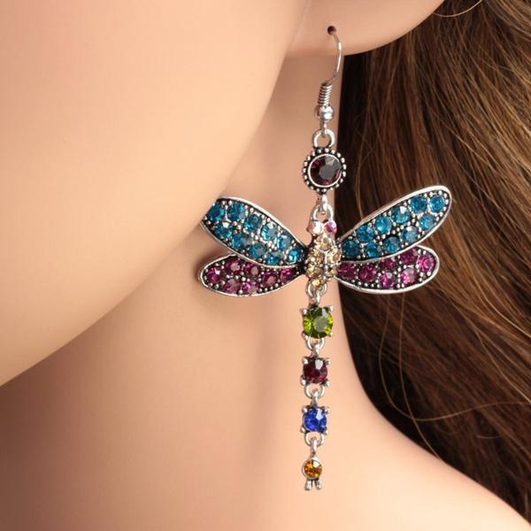 dragon fly, cute, wedding earrings, hookearring
