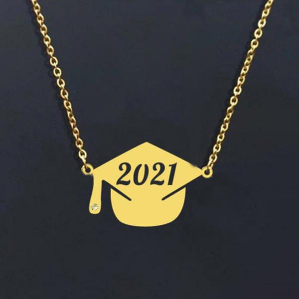 Graduation Gift, Steel, Chain Necklace, Cap