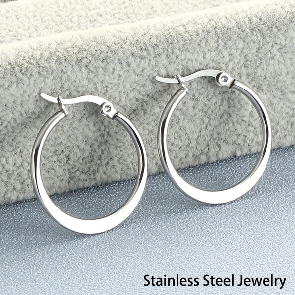 Fashion, gold, Stainless Steel, roundhoopearring