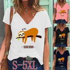 Summer, Fashion, Graphic T-Shirt, Deep V-Neck