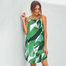 suspenders, Sleeveless dress, chiffon dress, women summer dress