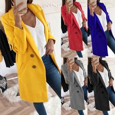 woolen, lapel, Plus Size, Sleeve