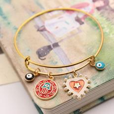 Charm Bracelet, Heart, eye, Jewelry