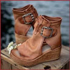 platformboot, Sandals, wedge, leather