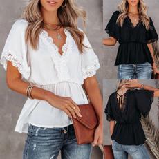blouse, womenvneckblouse, Lace, womenvnecktop