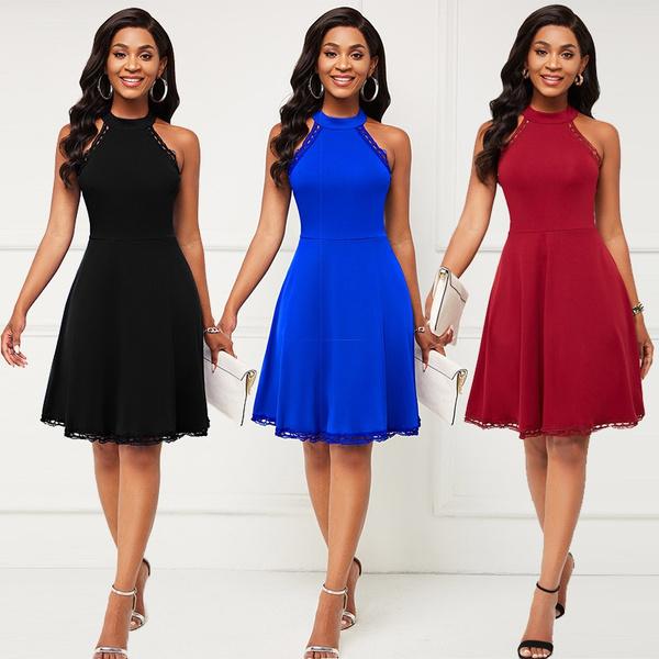 sleeveless, halter dress, Lace, Halter