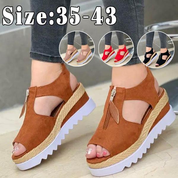 platformwedgesandalsforwomen, Summer, zippersandal, Womens Shoes