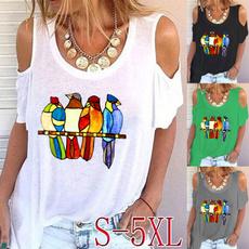 Summer, Plus Size, Women Blouse, printed shirts