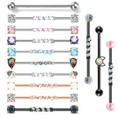 Steel, industrialearring, Jewelry, industrialbarbell