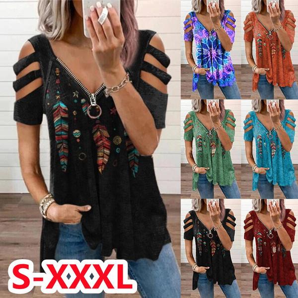 blouse, Summer, strapless, Deep V-Neck
