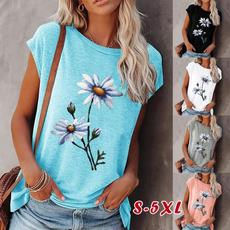 daisyprint, Plus Size, Women Blouse, short sleeves