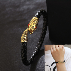 Charm Bracelet, Animal, gold, punk