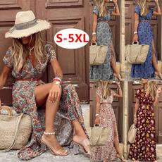 Summer, Floral print, sundress, long dress