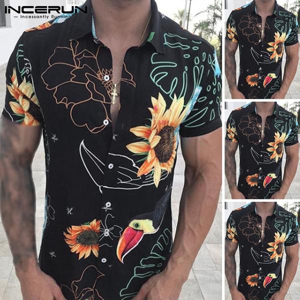 Fashion, Hawaiian, Dress, short sleeves