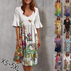 Summer, Plus Size, Dress, neck dress