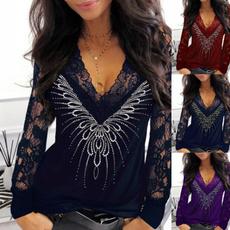 blouse, Women, springandautumn, Lace