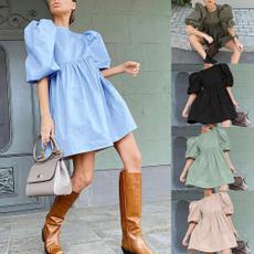 womens dresses, Necks, womenpuffskirt, Sleeve