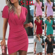 dressforwomen, short sleeve dress, summerbaghipskirt, Summer