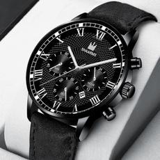 Fashion, business watch, leather strap, wristwatch