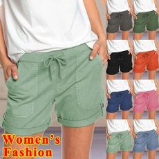 Women Pants, Summer, elastic waist, sport pants