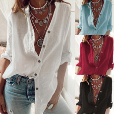 Summer, Fashion, long sleeved shirt, Deep V-Neck