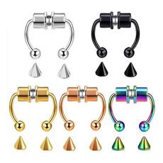 Steel, Jewelry, stainlesssteelartificialnosering, titaniumsteelnosering