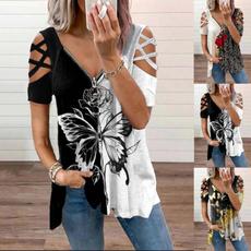 butterfly, Summer, Plus Size, Shirt