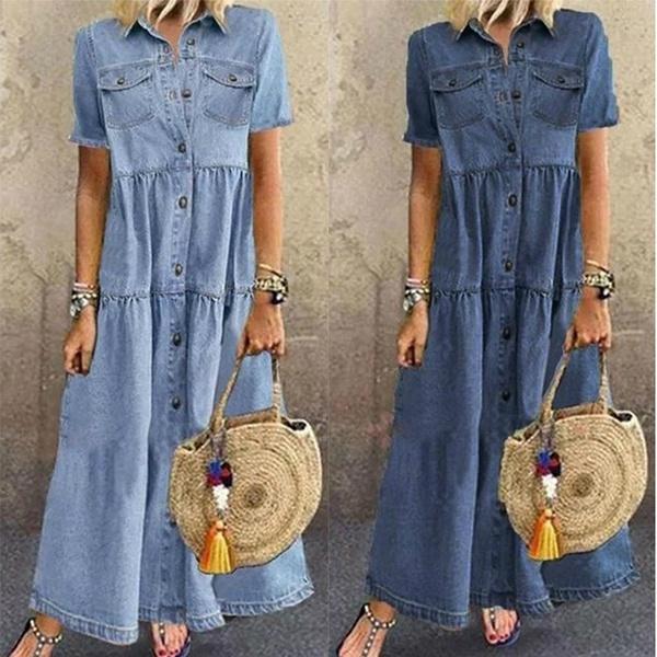 Turn-down Collar, Summer, Fashion, long dress