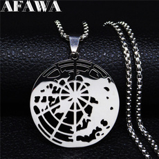 Steel, Jewelry, Gifts, medicalgeographynecklace